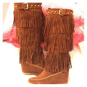 Brown Wedge Heeled Moccasin Boots S - 8.5